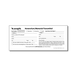 2219 - Honorarium/Memorial Transmittal Form (Pkg: 25)